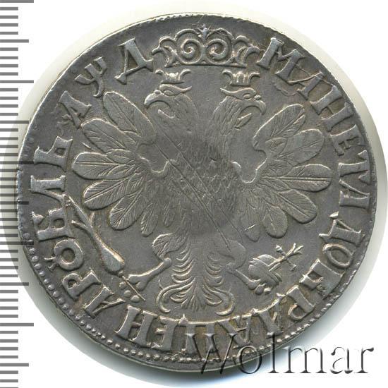 1 рубль 1704 г. Петр I. Портрет молодого Петра I. Хвост орла широкий. Корона закрытая. Крест державы украшен