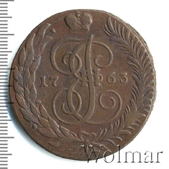 5 копеек 1763 г. СМ. Екатерина II Сестрорецкий монетный двор. СМ больше