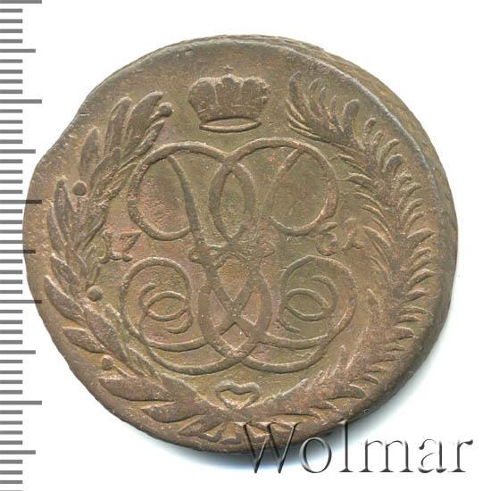 5 копеек 1761 г. ММ. Елизавета I Обозначение монетного двора ММ