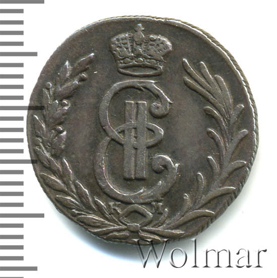 Денга 1777 г. КМ. Сибирская монета (Екатерина II). Тиражная монета