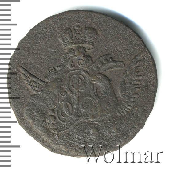 1 копейка 1756 г. Елизавета I Орел в облаках. Гурт Московского монетного двора