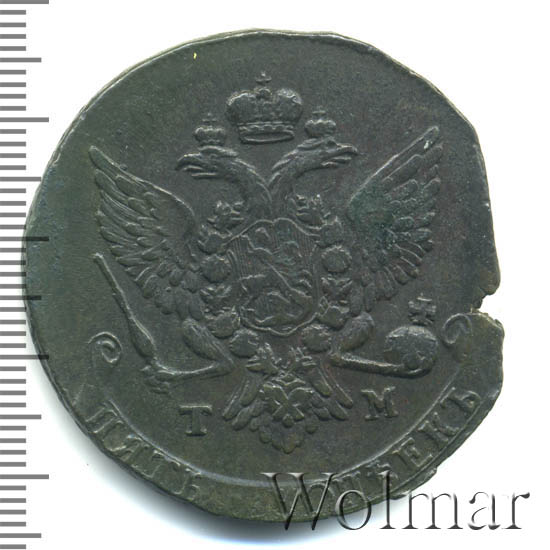 5 копеек 1787 г. ТМ. Екатерина II Таврический монетный двор. Гурт сетка