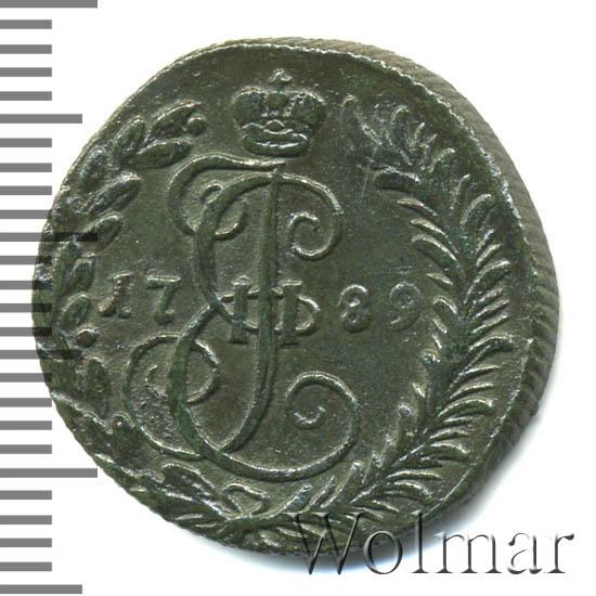 Денга 1789 г. КМ. Екатерина II Буквы КМ