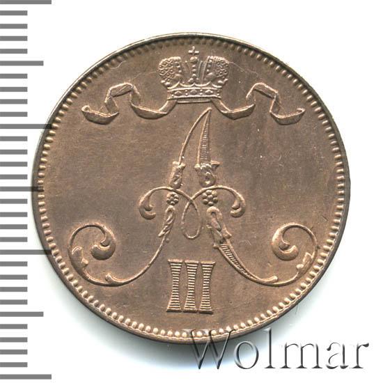 5 пенни 1892 г. Для Финляндии (Александр III)