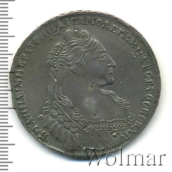 1 рубль 1736 г. Анна Иоанновна Тип года. С кулоном на груди. 2 ленты наплечника на левом плече