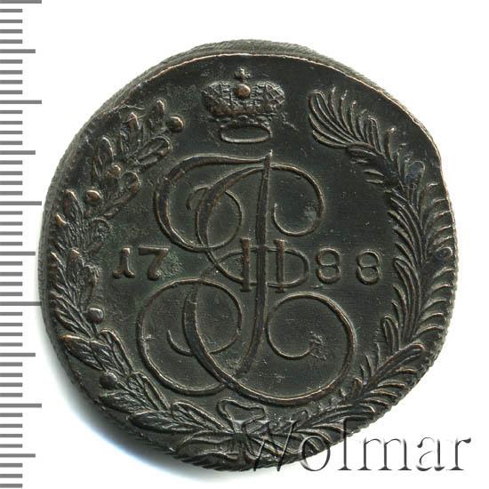5 копеек 1788 г. КМ. Екатерина II. Сузунский монетный двор. Буквы КМ больше