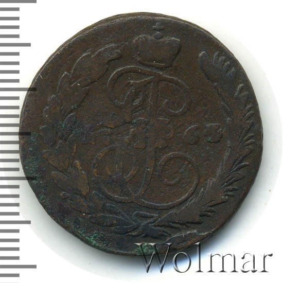 1 копейка 1764 г. ММ. Екатерина II Буквы ММ