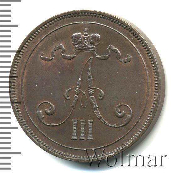 10 пенни 1891 г. Для Финляндии (Александр III).