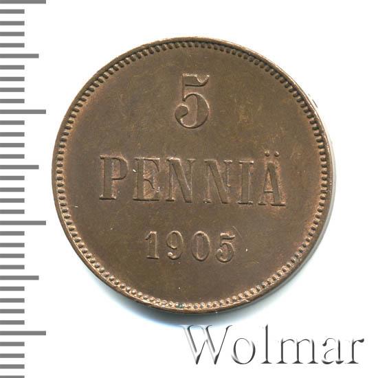 5 пенни 1905 г. Для Финляндии (Николай II).
