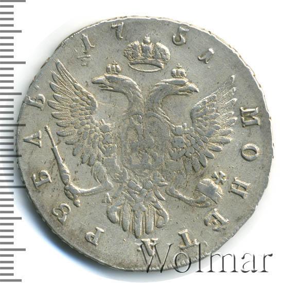 1 рубль 1751 г. ММД А. Елизавета I. Красный монетный двор. Инициалы минцмейстера А