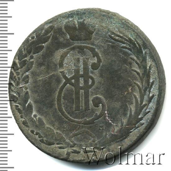 10 копеек 1767 г. КМ. Сибирская монета (Екатерина II) Буквы КМ. Шнуровидный гурт с наклоном насечки влево