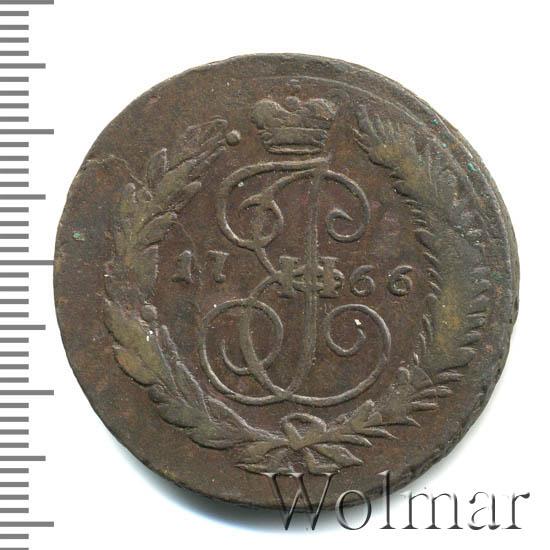 2 копейки 1766 г. СПМ. Екатерина II Буквы СПМ. Гурт сетчатый