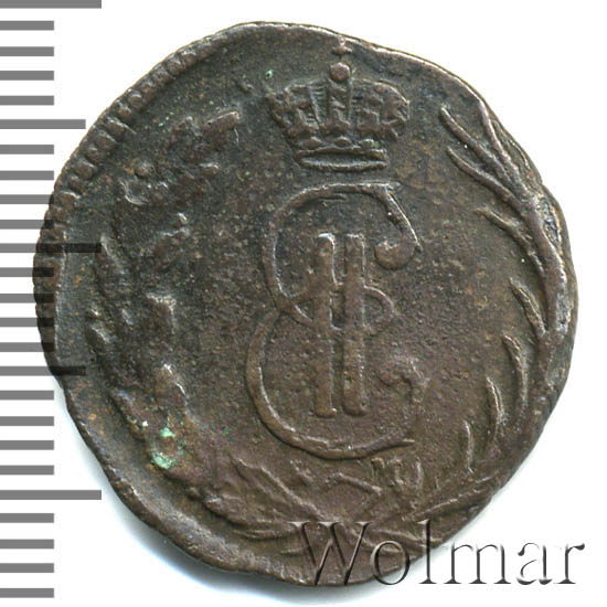 Денга 1773 г. КМ. Сибирская монета (Екатерина II). Тиражная монета