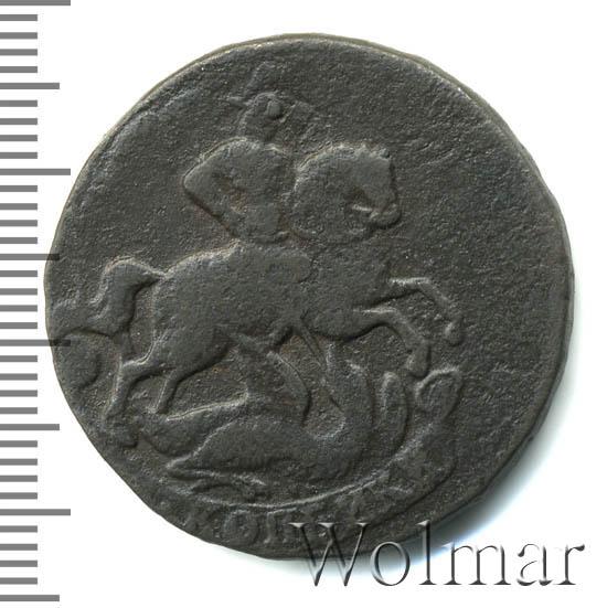 2 копейки 1759 г. Елизавета I. Номинал под св. Георгием. Екатеринбургский монетный двор