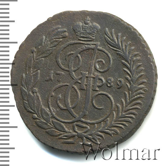 2 копейки 1789 г. АМ. Екатерина II Буквы АМ