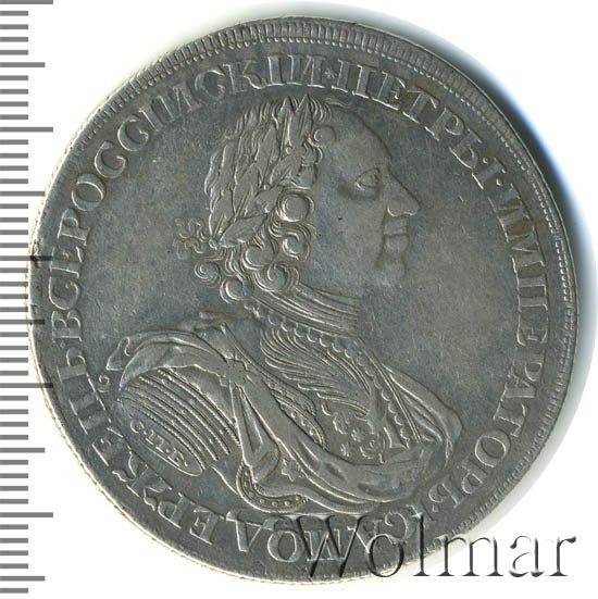 1 рубль 1724 г. СПБ. Петр I. Солнечный, портрет в латах. СПБ в обрезе рукава. Над головой звезда.