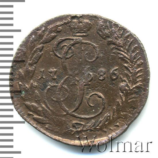 Денга 1786 г. КМ. Екатерина II. Буквы КМ