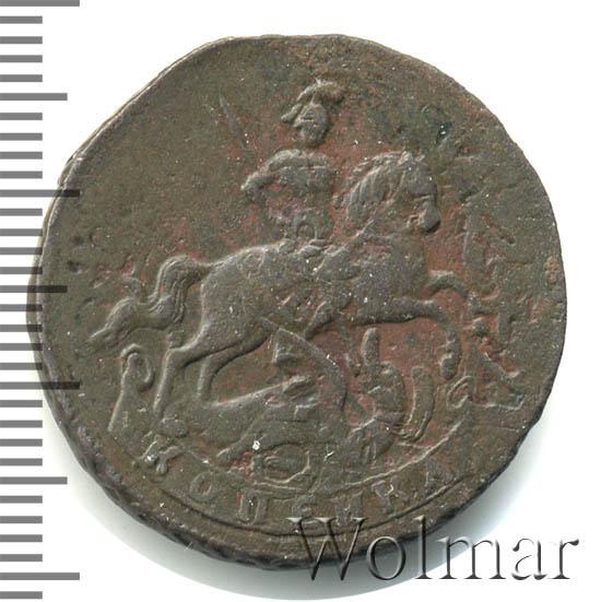 1 копейка 1757 г. Елизавета I. Вензель. Екатеринбургский монетный двор