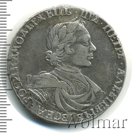 1 рубль 1719 г. OK L. Петр I. Портрет в латах. Арабески на груди. Инициалы минцмейстера