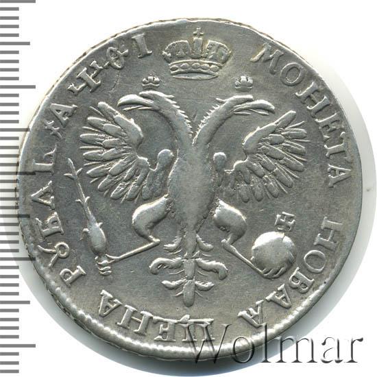 1 рубль 1719 г. OK L. Петр I Портрет в латах. Арабески на груди. Инициалы минцмейстера