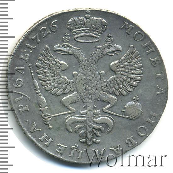 1 рубль 1726 г. Екатерина I Красный тип, портрет влево. Хвост орла широкий. 12-13 перьев в крыле орла. Тиражная монета