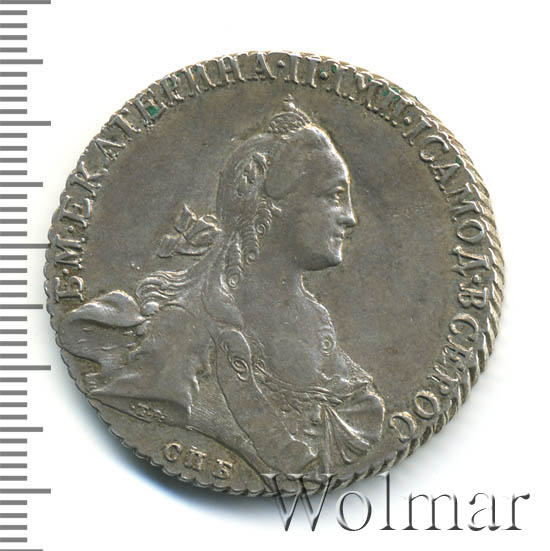 1 рубль 1769 г. СПБ СА. Екатерина II Санкт-Петербургский монетный двор