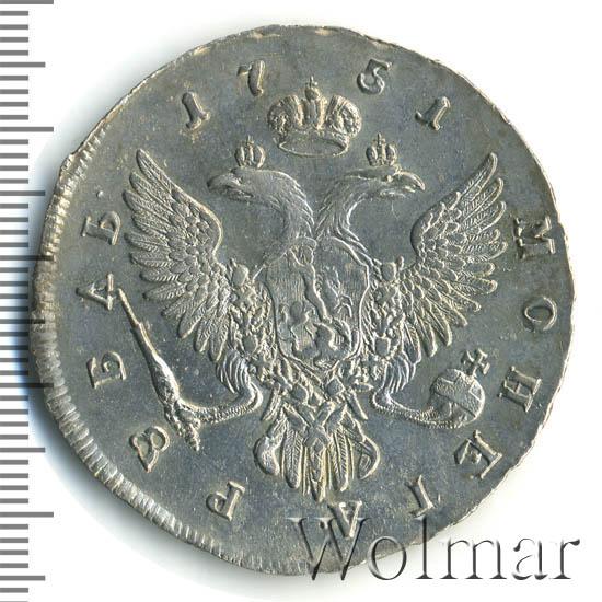 1 рубль 1751 г. ММД. Елизавета I. Красный монетный двор