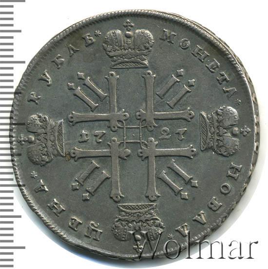 1 рубль 1727 г. Петр II. Портрет разделяет надпись. Красный тип. Звездочка в центре монограммы