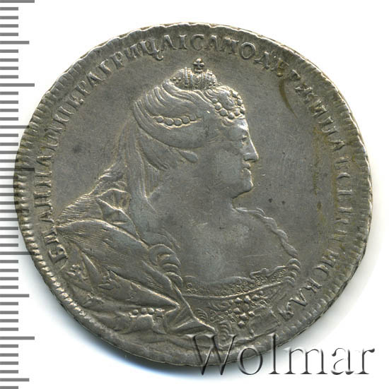 1 рубль 1739 г. Анна Иоанновна Красный тип. Корона меньше