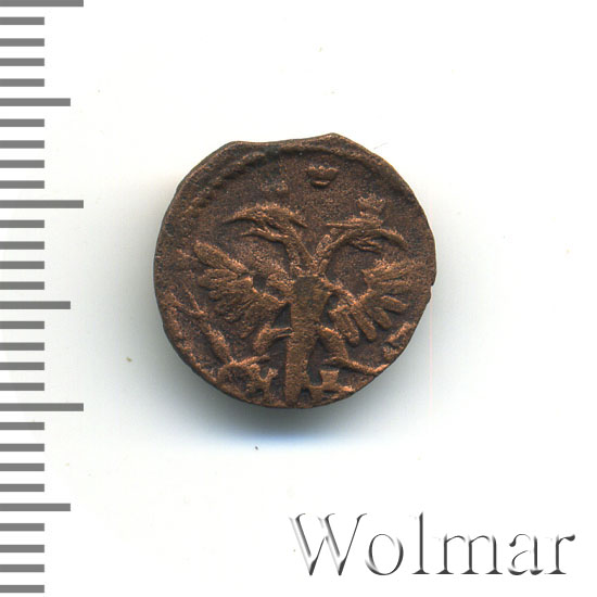 Полушка 1720 г. НД. Петр I Год славянский. Набережный монетный двор
